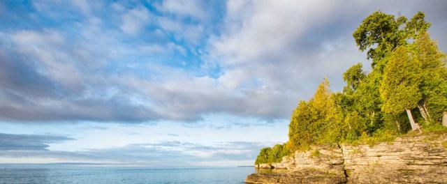 A rocky lake shore