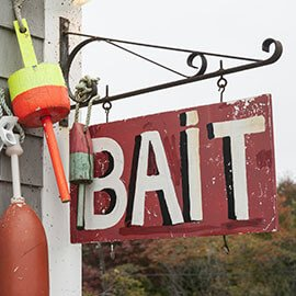 A fishing bait store sign
