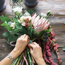 Preparing a bouquet of flowers
