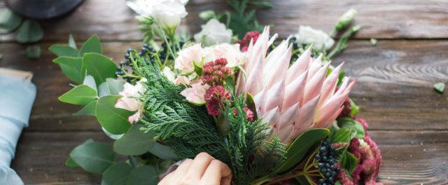 Preparing a bouquet of flowers