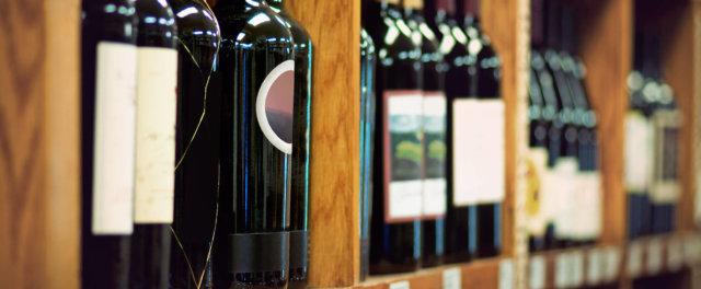 Wine bottles at a liquor store