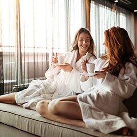 Two women relaxing at a spa
