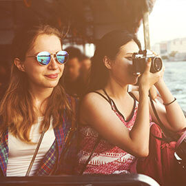 Two girls on a boat tour