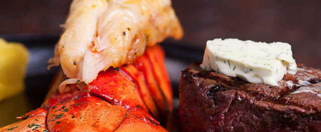A steak and lobster dinner