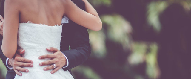 A bride and groom at a wedding