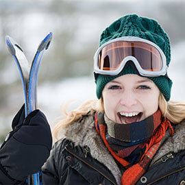 A woman outside at a ski resort