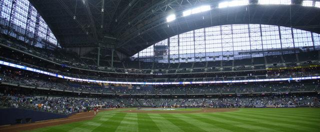 The interior of a large stadium