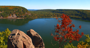 View of a lake from on top of a bluff